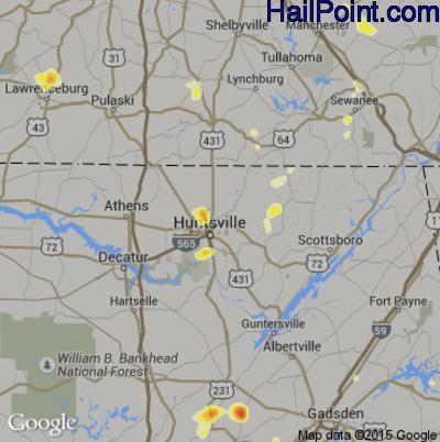 Hail Map for Huntsville, AL Region on July 5, 2012