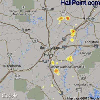Hail Map for Birmingham, AL Region on July 5, 2012