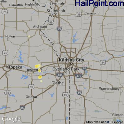 Hail Map for Kansas City, KS Region on July 8, 2012