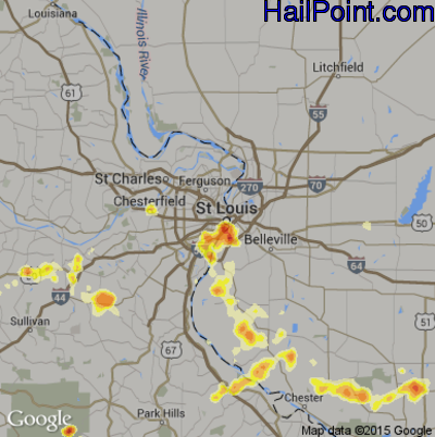 Hail Map for St. Louis, MO Region on July 8, 2012