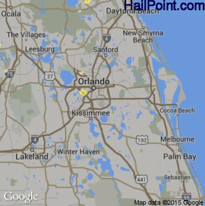 Hail Map for Orlando, FL Region on July 8, 2012
