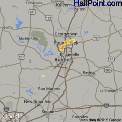 Hail Map for Austin, TX Region on July 9, 2012