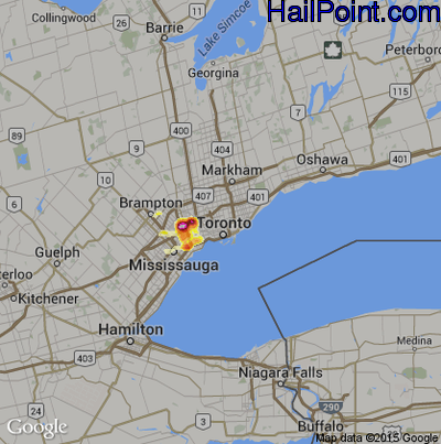 Hail Map for Toronto, Can Region on July 11, 2012