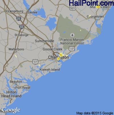 Hail Map for Charleston, SC Region on July 11, 2012