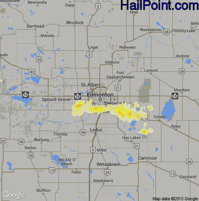 Hail Map for Edmonton, Can Region on July 12, 2012