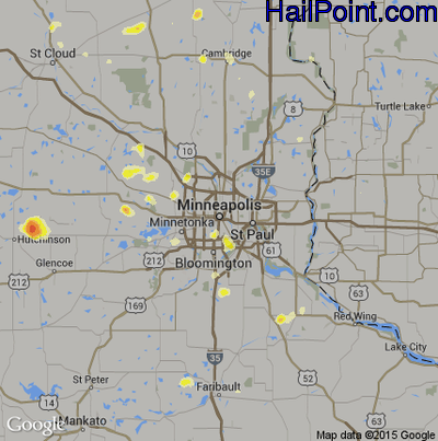 Hail Map for Minneapolis, MN Region on July 13, 2012