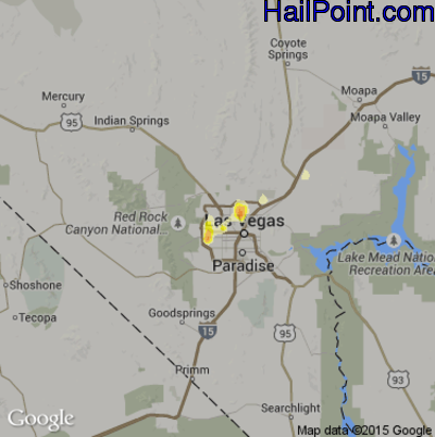 Hail Map for Las Vegas, NV Region on July 16, 2012