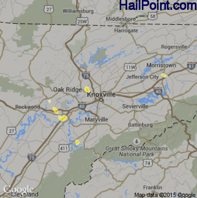 Hail Map for Knoxville, TN Region on July 17, 2012