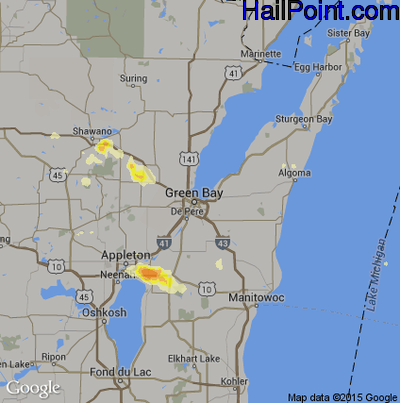 Hail Map for Green Bay, WI Region on July 17, 2012