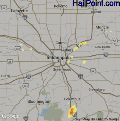 Hail Map for Indianapolis, IN Region on July 17, 2012