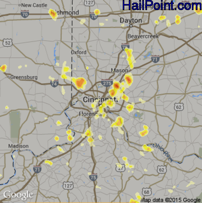 Hail Map for Cincinnati, OH Region on July 18, 2012