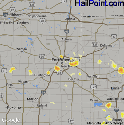 Hail Map for Fort Wayne, IN Region on July 18, 2012