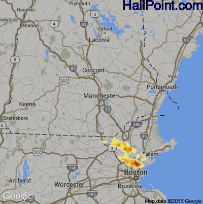 Hail Map for Manchester, NH Region on July 18, 2012