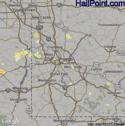 Hail Map for Pittsburgh, PA Region on July 18, 2012