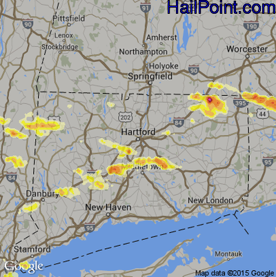 Hail Map for Hartford, CT Region on July 18, 2012