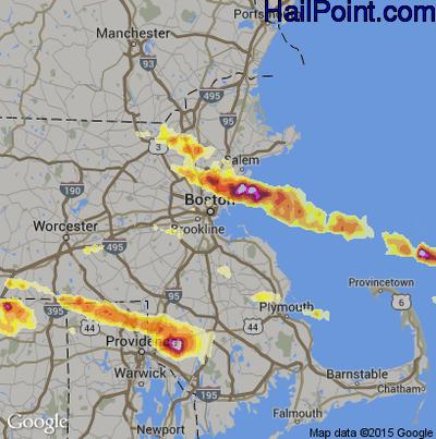 Hail Map for Boston, MA Region on July 18, 2012