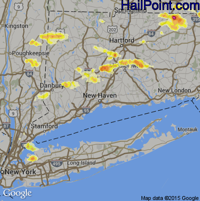 Hail Map for New Haven, CT Region on July 18, 2012