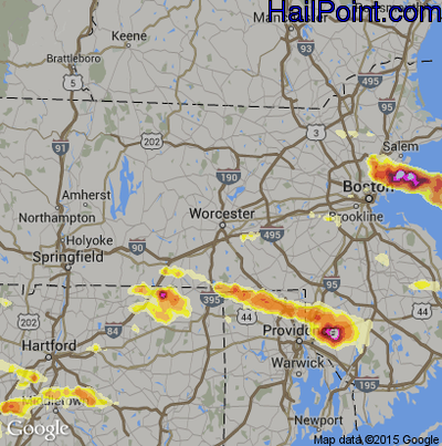 Hail Map for Worcester, MA Region on July 18, 2012