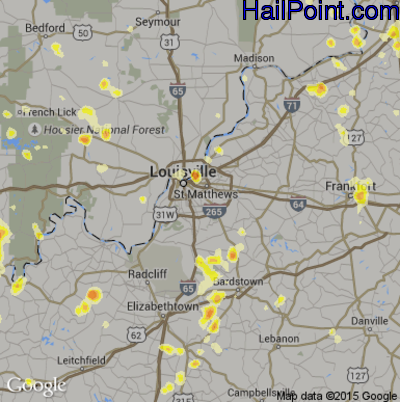 Hail Map for Louisville, KY Region on July 18, 2012