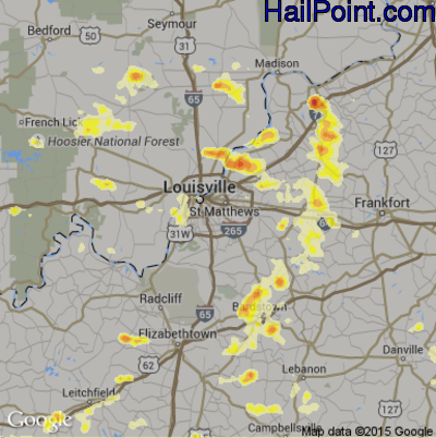 Hail Map for Louisville, KY Region on July 19, 2012