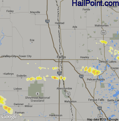 Hail Map for Fargo, ND Region on July 22, 2012