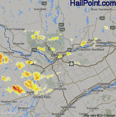 Hail Map for Ottowa, Can Region on July 23, 2012