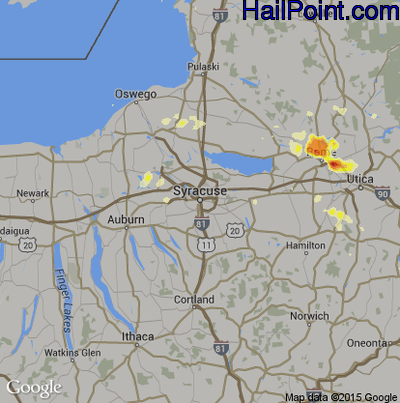 Hail Map for Syracuse, NY Region on July 23, 2012