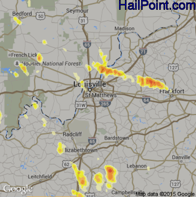 Hail Map for Louisville, KY Region on July 24, 2012