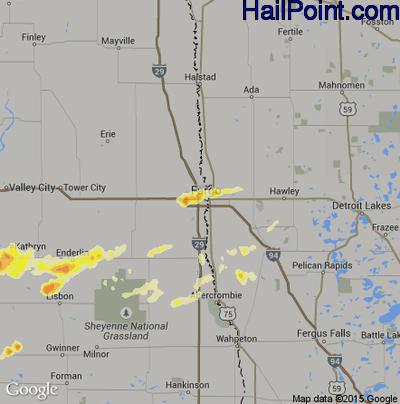 Hail Map for Fargo, ND Region on July 25, 2012