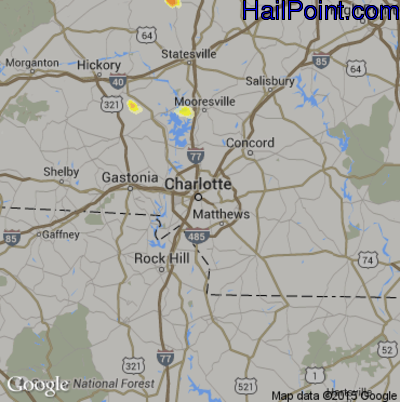 Hail Map for Charlotte, NC Region on July 25, 2012