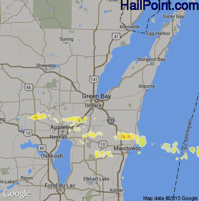 Hail Map for Green Bay, WI Region on July 26, 2012