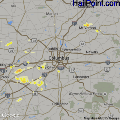 Hail Map for Columbus, OH Region on July 26, 2012