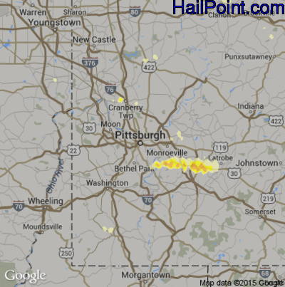 Hail Map for Pittsburgh, PA Region on July 26, 2012