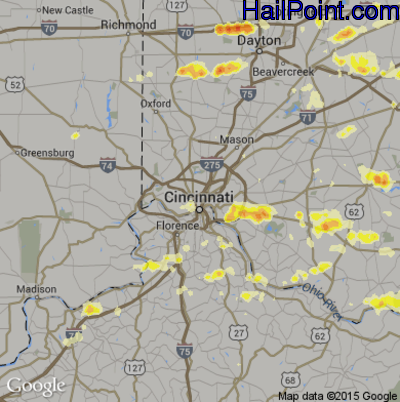 Hail Map for Cincinnati, OH Region on July 26, 2012