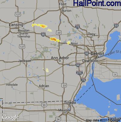 Hail Map for Ann Arbor, MI Region on July 27, 2012