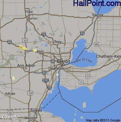 Hail Map for Detroit, MI Region on July 27, 2012