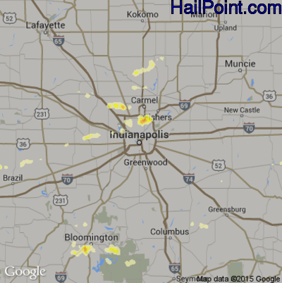 Hail Map for Indianapolis, IN Region on July 27, 2012