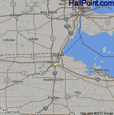 Hail Map for Toledo, OH Region on July 27, 2012