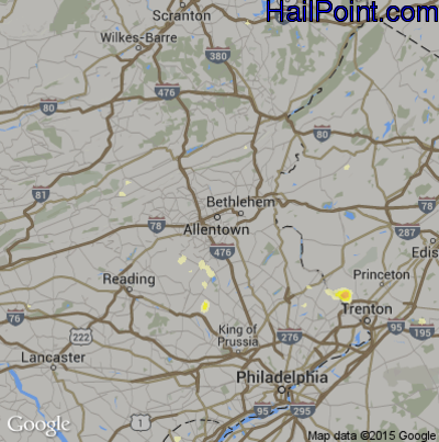 Hail Map for Allentown, PA Region on July 28, 2012