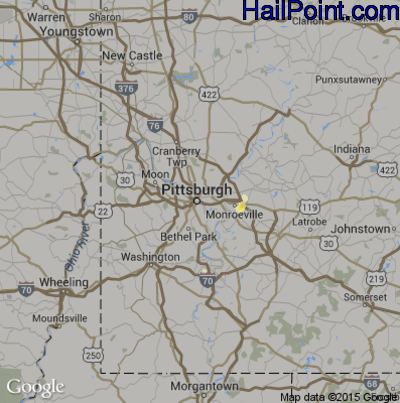 Hail Map for Pittsburgh, PA Region on July 31, 2012