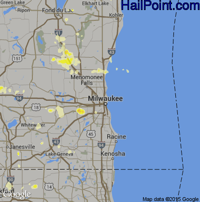 Hail Map for Milwaukee, WI Region on July 31, 2012