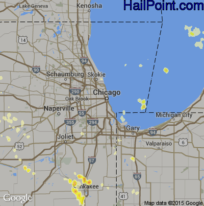 Hail Map for Chicago, IL Region on July 31, 2012