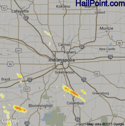 Hail Map for Indianapolis, IN Region on July 31, 2012