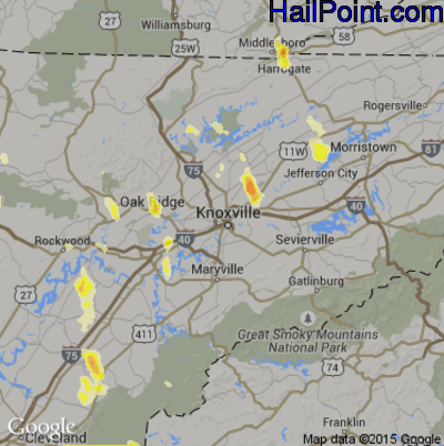 Hail Map for Knoxville, TN Region on August 1, 2012