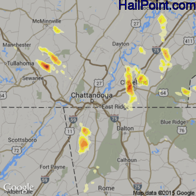 Hail Map for Chattanooga, TN Region on August 1, 2012