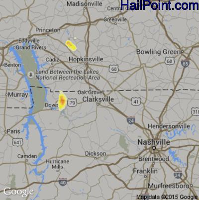Hail Map for Clarksville, TN Region on August 1, 2012