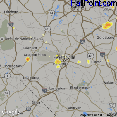 Hail Map for Fayetteville, NC Region on August 2, 2012