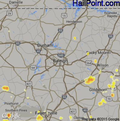 Hail Map for Raleigh, NC Region on August 2, 2012