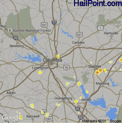 Hail Map for Columbia, SC Region on August 2, 2012