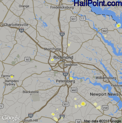 Hail Map for Richmond, VA Region on August 2, 2012
